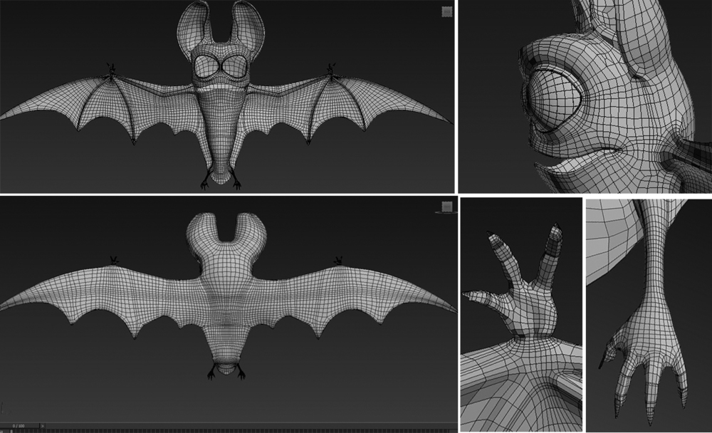 I have to retop of the bat done. Now I can move on to modeling the bug. I retoped him him Zbrush.