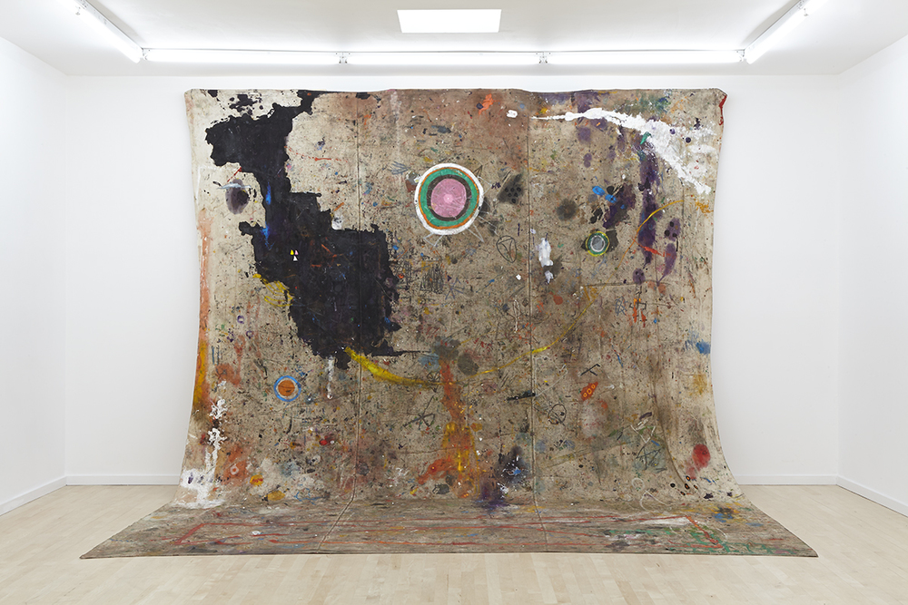 """Where We Live""  2013 - 14, O  il, acrylic, chili, semen, saliva on drop cloth,   dimensions variable"