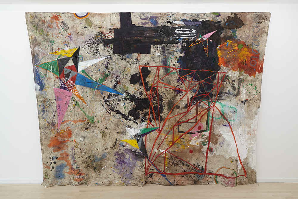 """Miracle Hour"",  2013 - 14,   Oil pigment stick, o  il, acrylic, chili, semen, saliva on drop cloth,   dimensions variable"