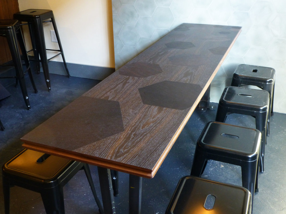 Custom Table Top Made For Cardiff Giant In Brooklyn, NY. Laser Cut Fumed  Oak Veneer, Solid Walnut Edging.