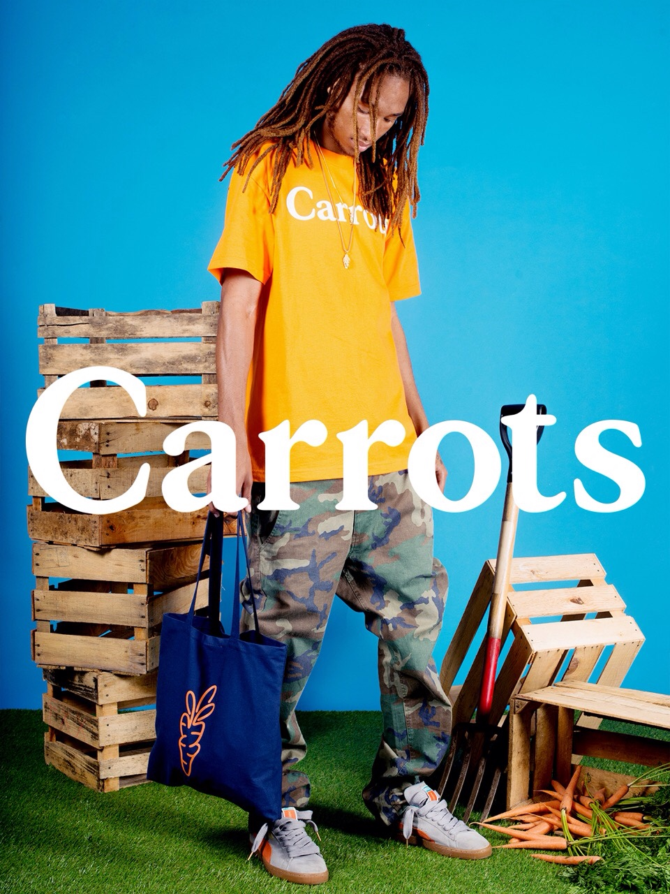 Navy Carrots Tote bag available in-store or via phone order.