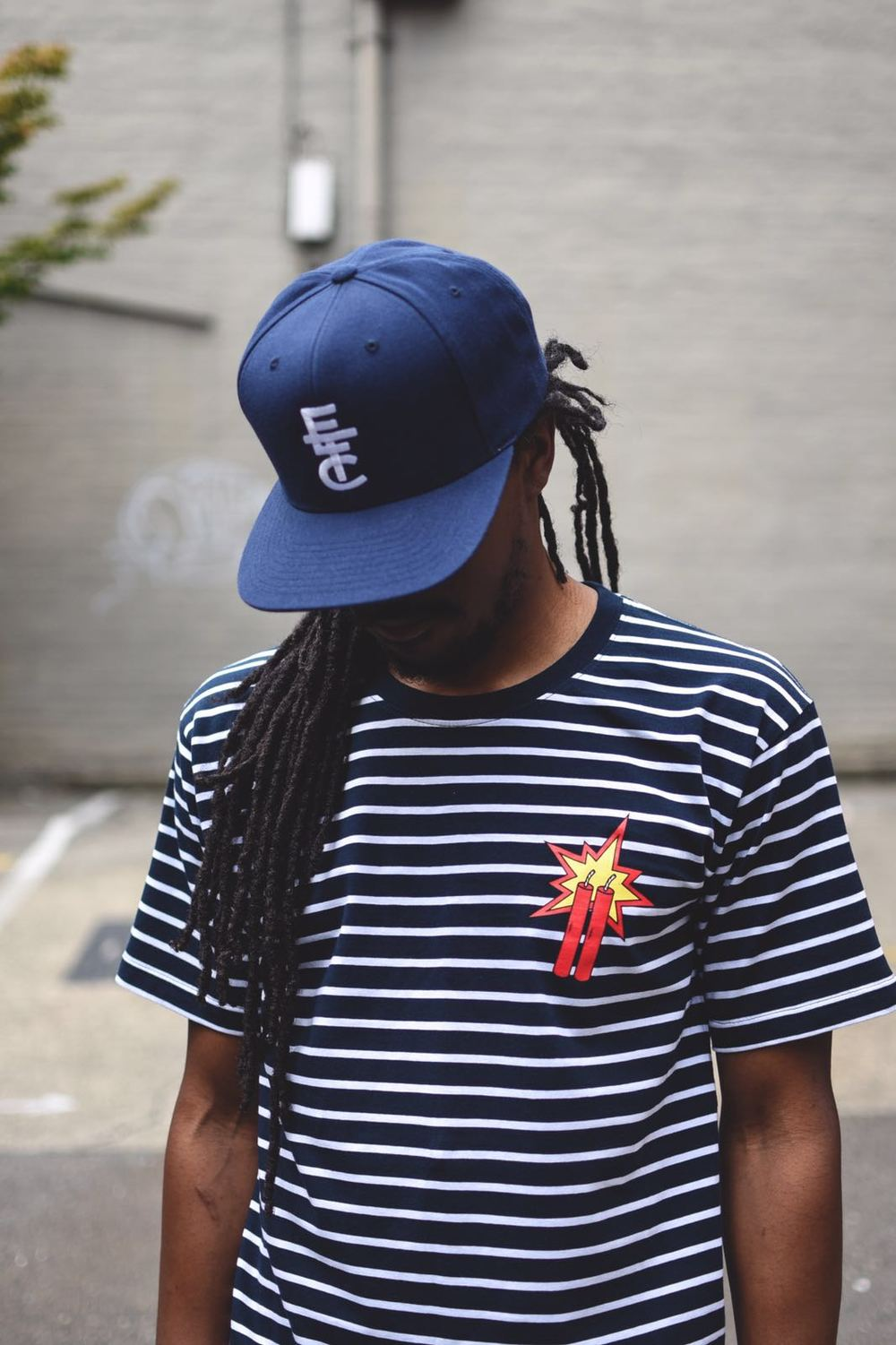 2 YEAR DYNAMITE T (STRIPED NAVY/WHT) / STACKED ETC SNAPBACK (NAVY)