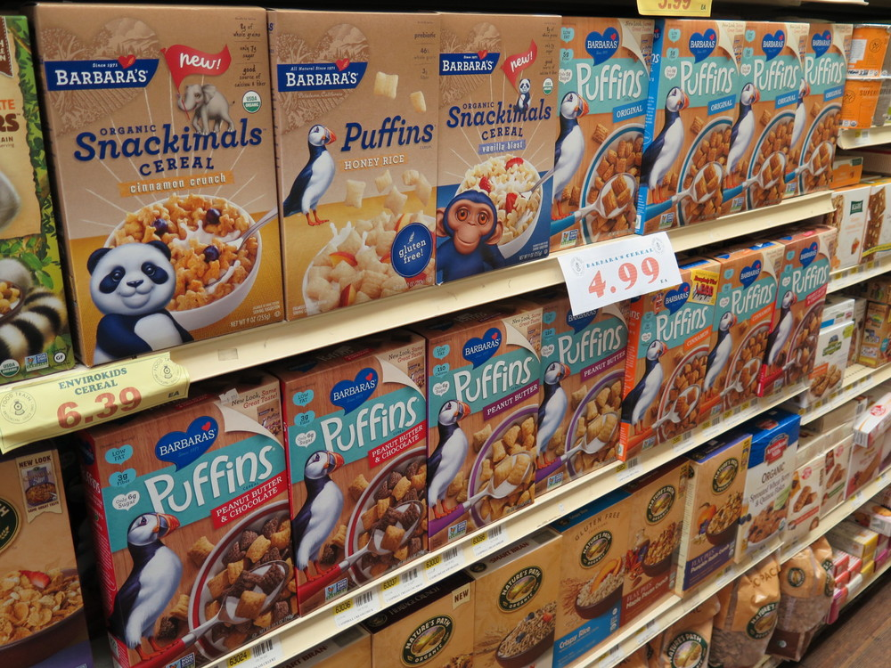 Barbara's Snackimals and Puffins Cereal