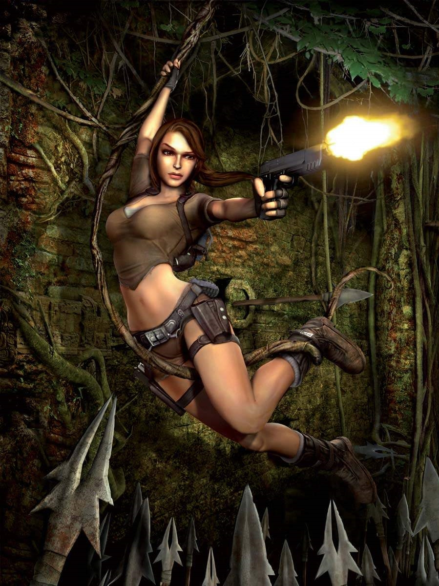 There is something disturbingly tentacular about that vine Lara is swinging on.
