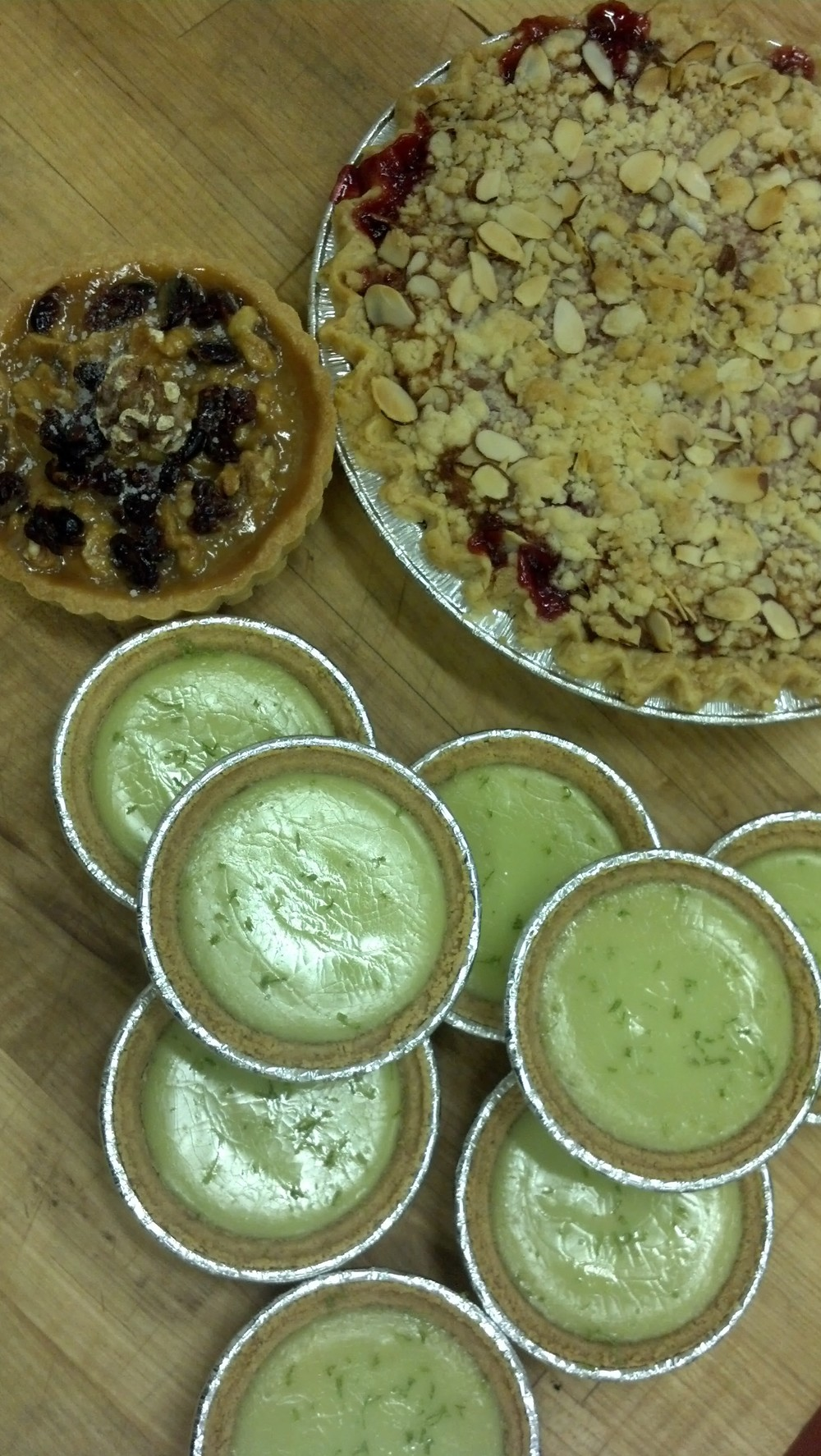 Cherry-Almond Crumb Pie, Key Lime Tarts, Cashew-Cherry Caramel Tart