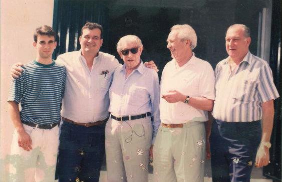 """Hendrik Kelner, Jr., Hendrik """"Henke"""" Kelner, Zino Davidoff, Dr. Ernst Schneider, and Don Jopito Kelner"""