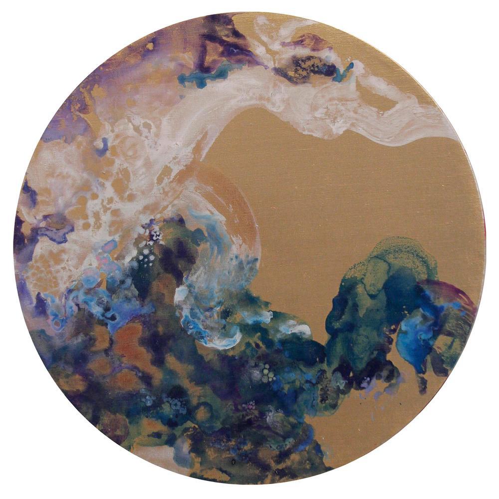 Microcosmos Shan Shui #2  2014  Acrylic and Metal powder on canvas  53cm diameter