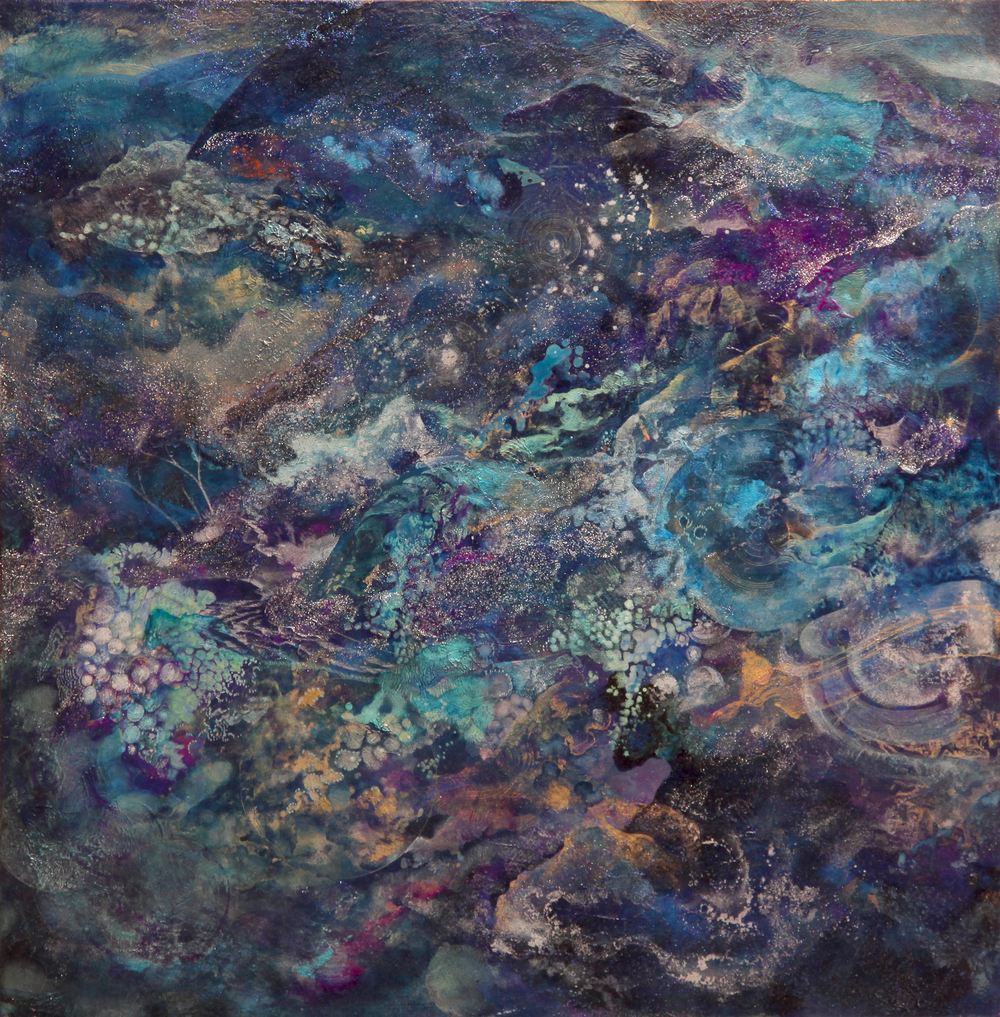 Universe Landscape  2014  Acrylic and metal powder on board  H53cm x W53cm