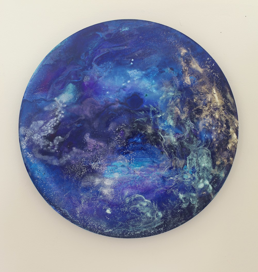M6  2014  Acrylic and metal powder on board  41cm diameter