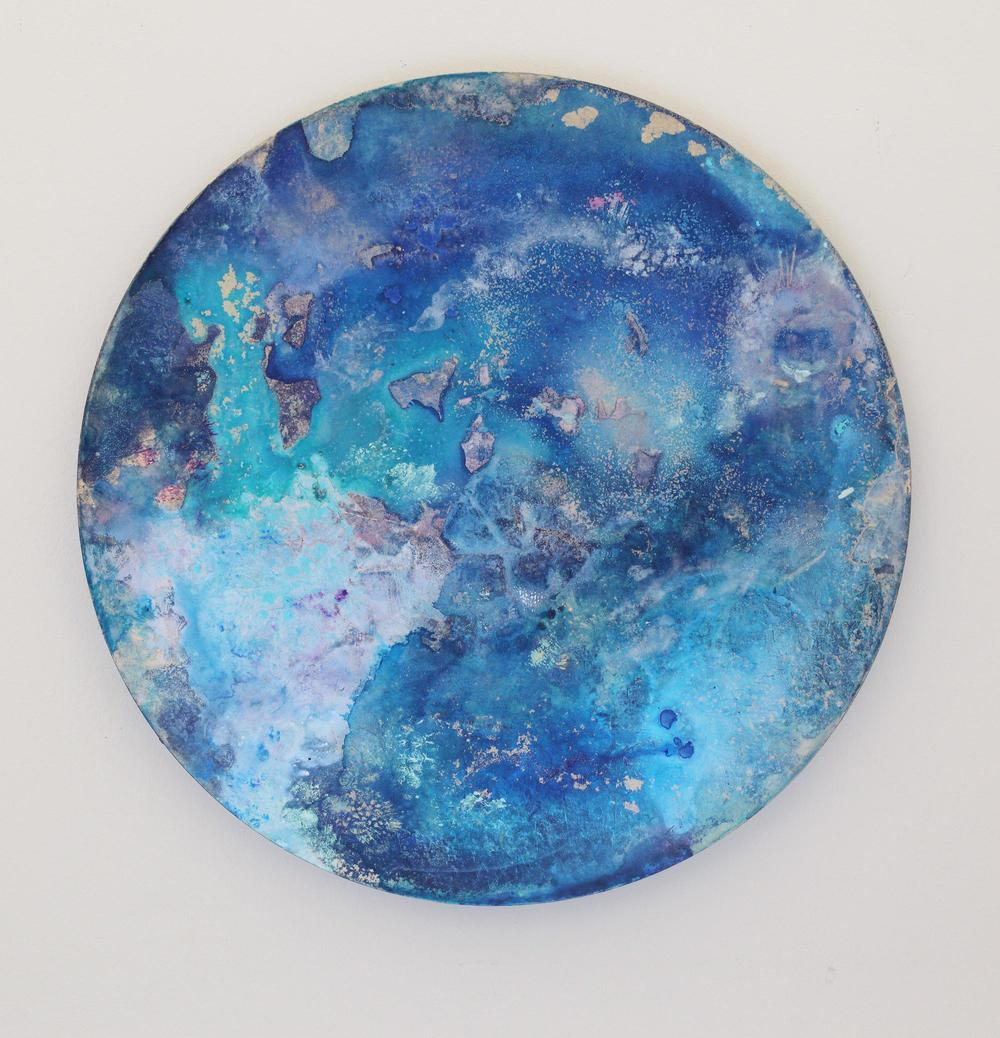 M10  2015  Acrylic and metal powder on board  41cm diameter