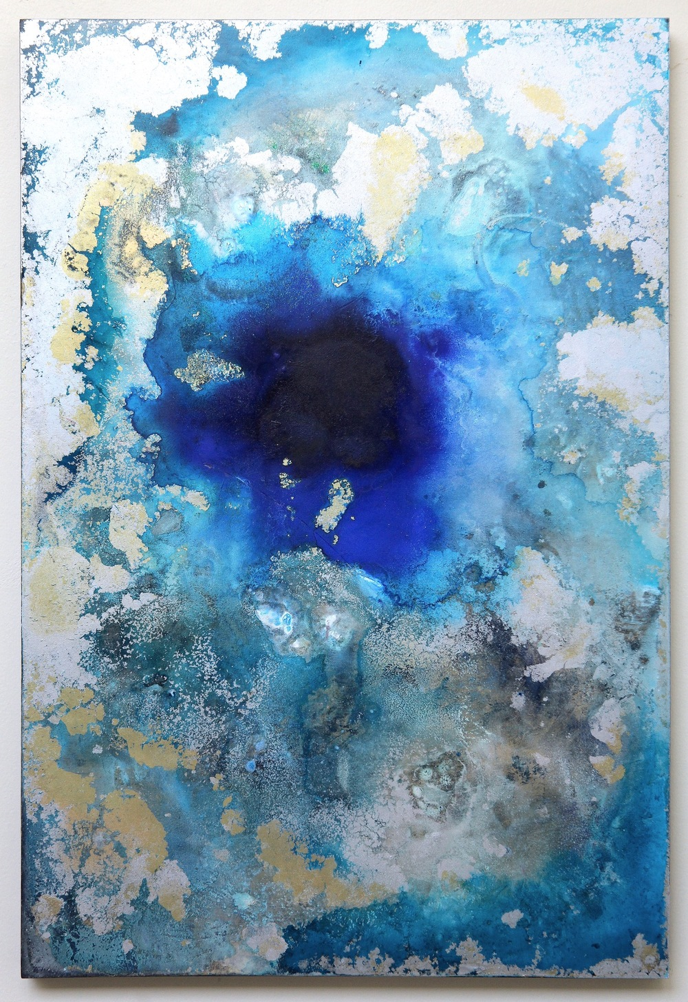 M18 ( Blue Whole)  2015  Acrylic and metal powder on board  H60.6cm x W41cm