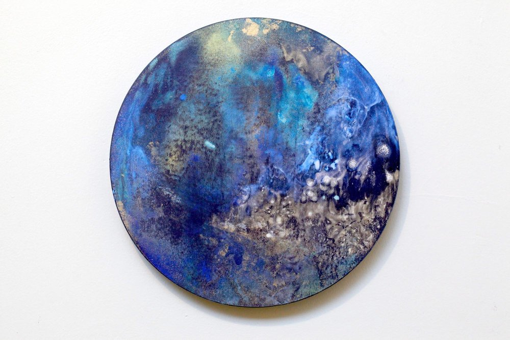 2016  Acrylic and metallic powder on board  27.2cm diameter