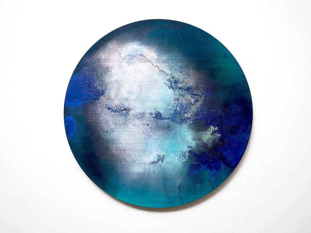 2016  Acrylic ,mineral pigment powder and metallic powder on board  41cm diameter