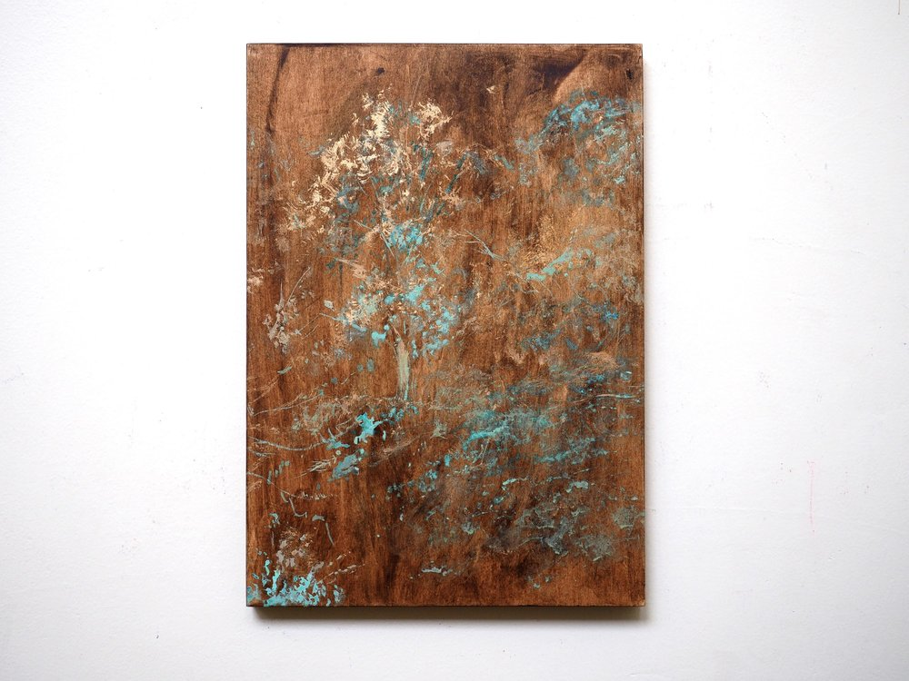 """ The transience of Patina Paintings ""  COSMIC TREE / Brown  2017  Acrylic, Bronze powder and Ammonium chloride on board  H 36.4cm x W 25.7cm"