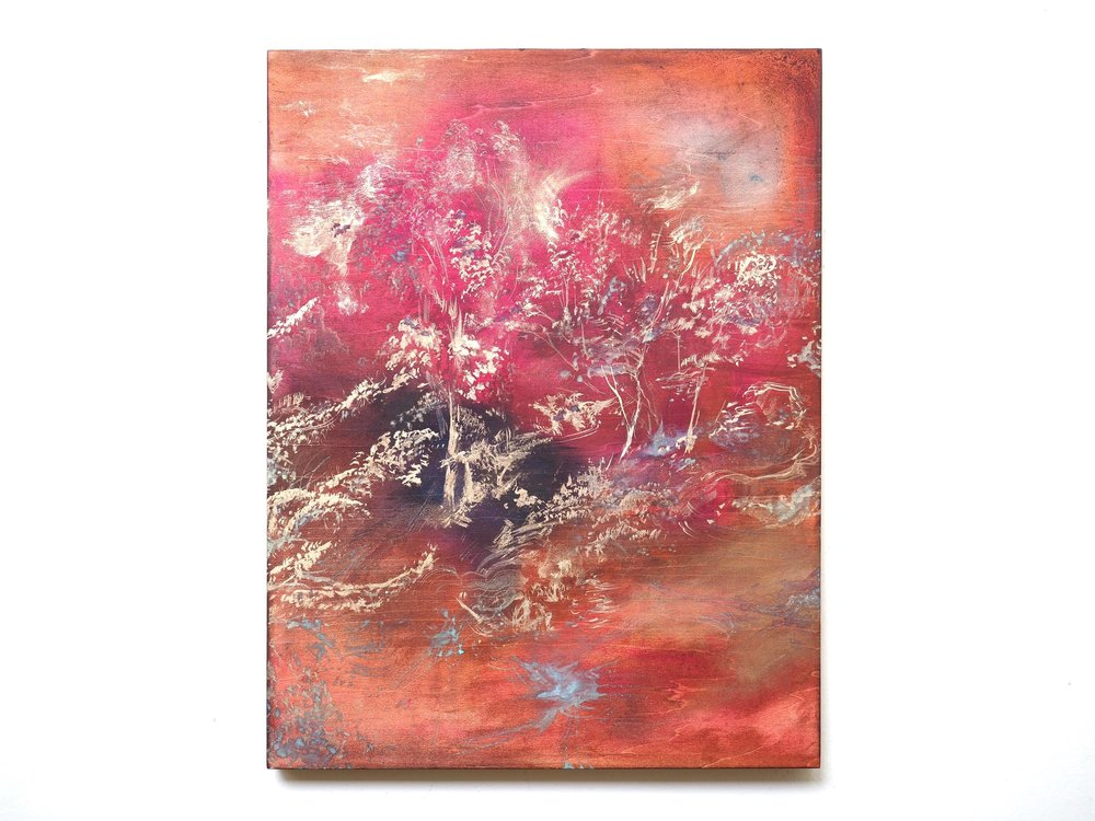 """ The transience of Patina Paintings ""   COSMIC TREE / RED  2017  Acrylic, Bronze powder and Ammonium chloride on board  H 40.1cm x W 31.3cm"