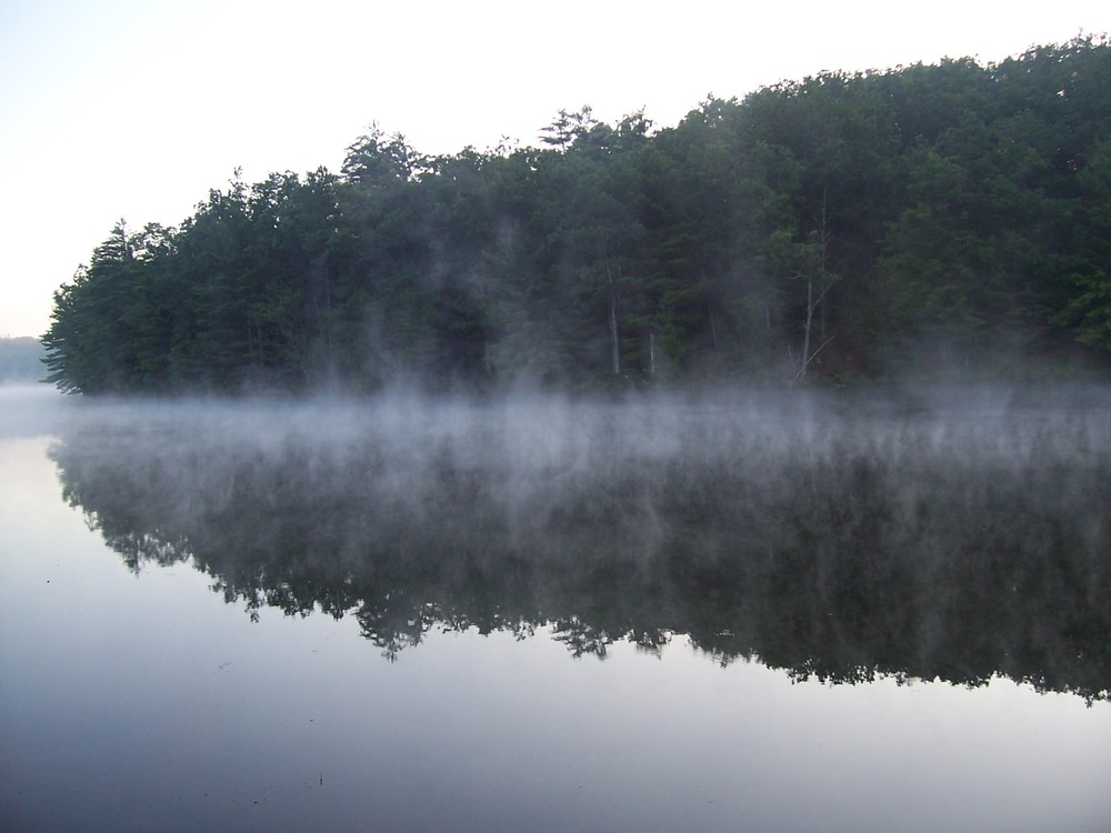 Early morning mist on Lake Wolverine