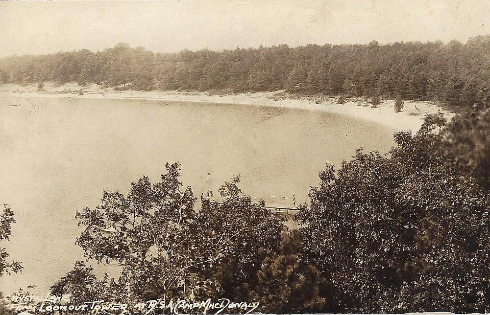 Camp McDonald (Stuart) Tower view of Crystal Lake Postcard 1934