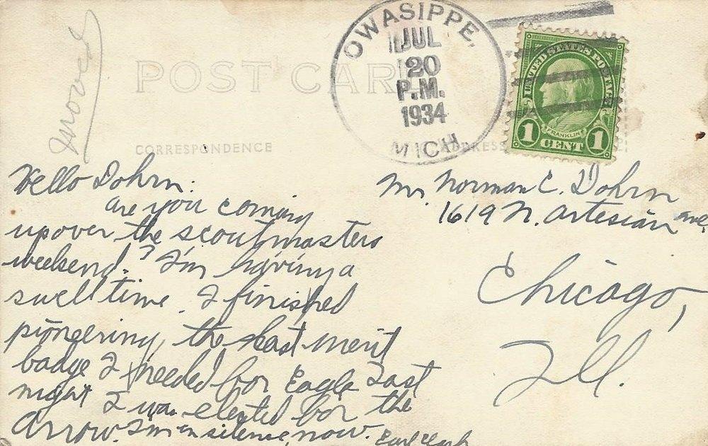 Crystal Lake Postcard Note 1924