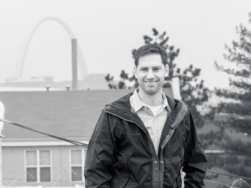 "Kevin Tibbs, Better Life's co-founder and ""mad skilled scientist"", stands on the rooftop of the manufacturing plant in St. Louis."