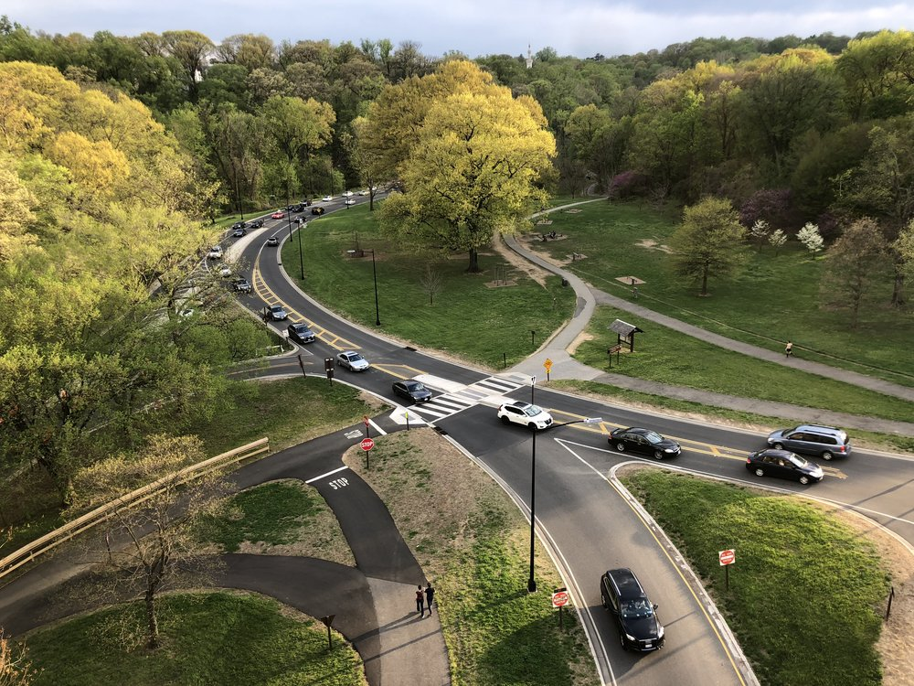 Rock Creek Park would qualify as an awesome slender Country Finger if it weren't for Rock Creek Parkway's four lanes of cars commuting between DC and its Maryland suburbs. The car noise and nagging fear of being hit pollute the experience with city stress.