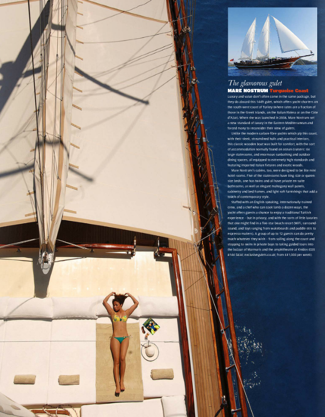 ONE OF OUR FLAGSHIP GULETS MARE NOSTRUM WAS FEATURED IN TELEGRAPH ULTRA TRAVEL SUMMER 2014 ISSUE