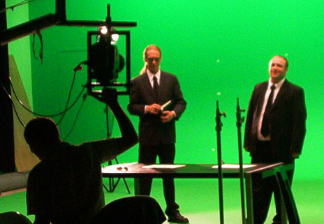 Here is  Noah Harrell  and  Rob Constantine  as the tax auditors on green screen for The Great American Musical. Two of the most amazing actors I've worked with.