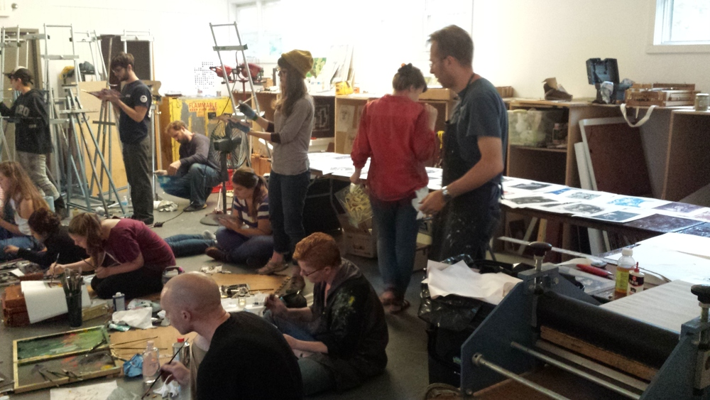 Brian Kreydatus teaching a mono print session from  the model.