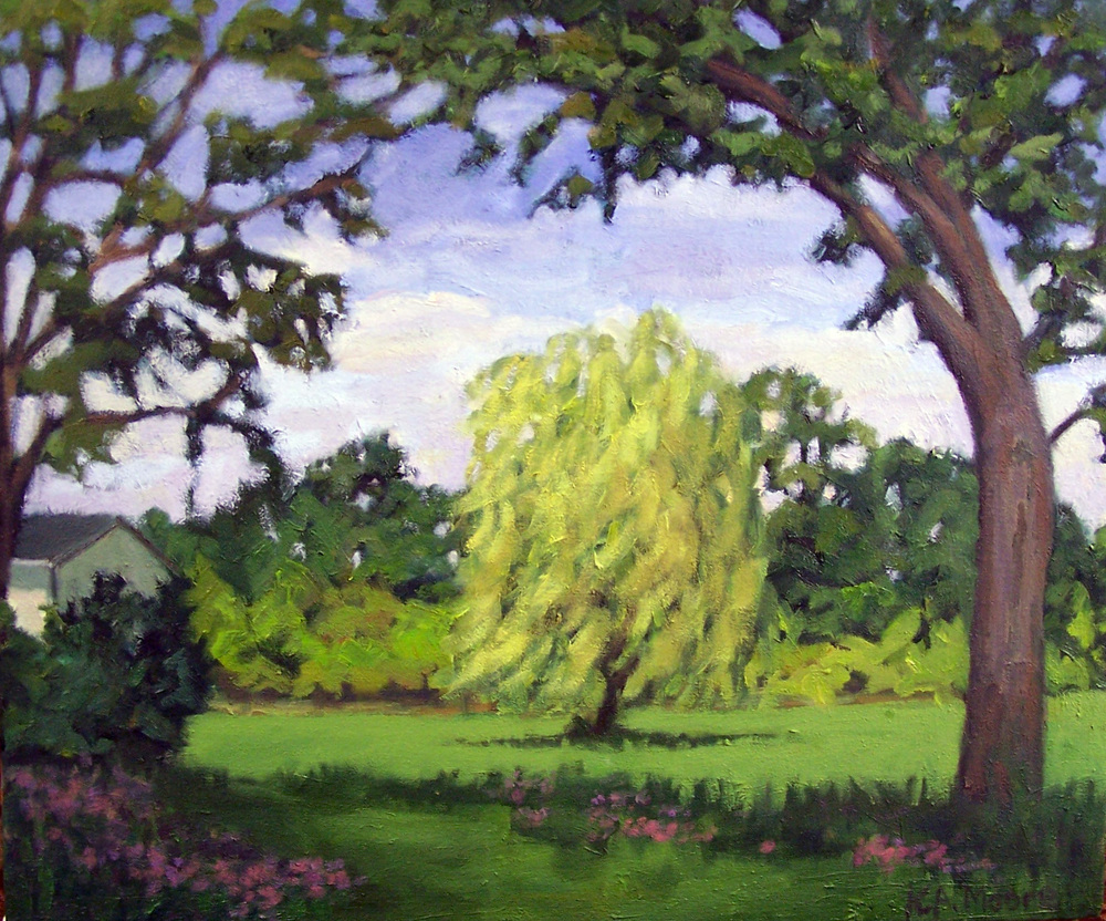 """Kathy A. Moore , """"Willow in the Wind"""" oil on canvas 15in.x18in. (retail value $650)"""