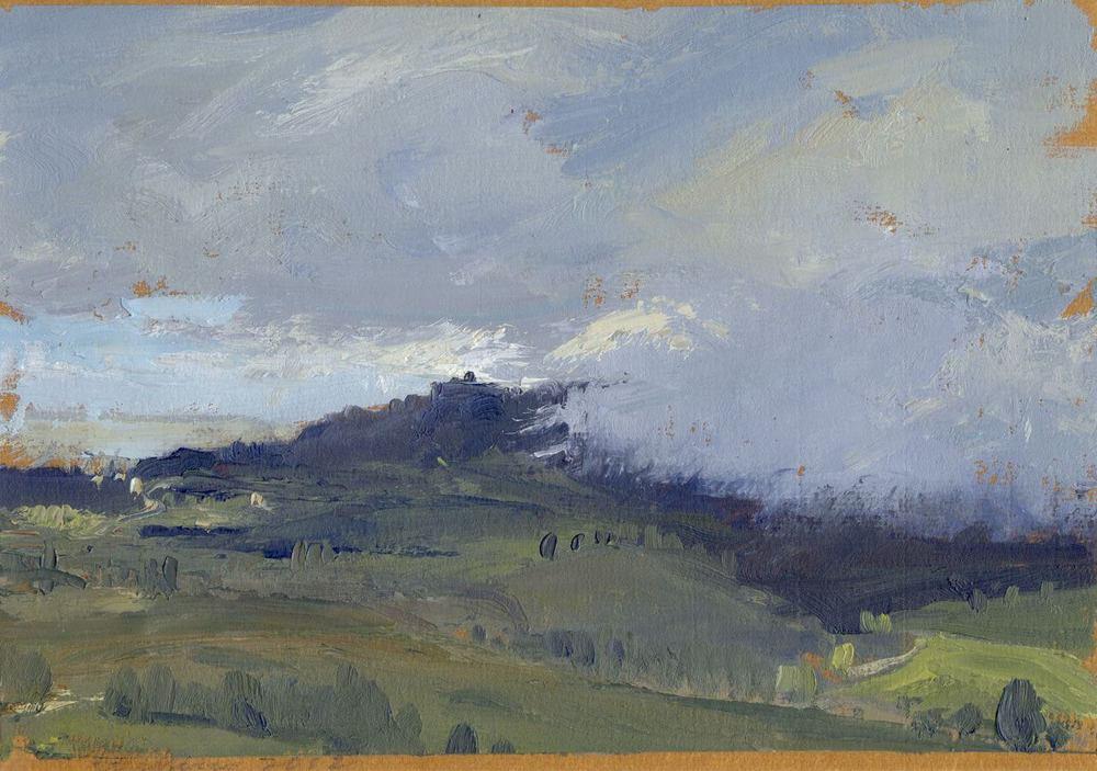 "John David Wissler , ""Monument"" oil on paper, 7""x10"" (retail value $1700)"
