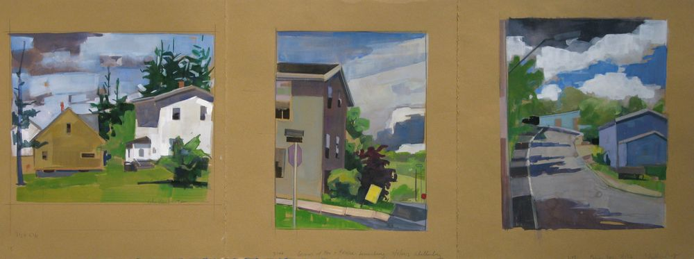 """Lou Schellenberg , """"Three Corners"""" gouache on paper, 11""""x30"""" - (retail value $1200) Framed dimensions are 17""""x35"""""""