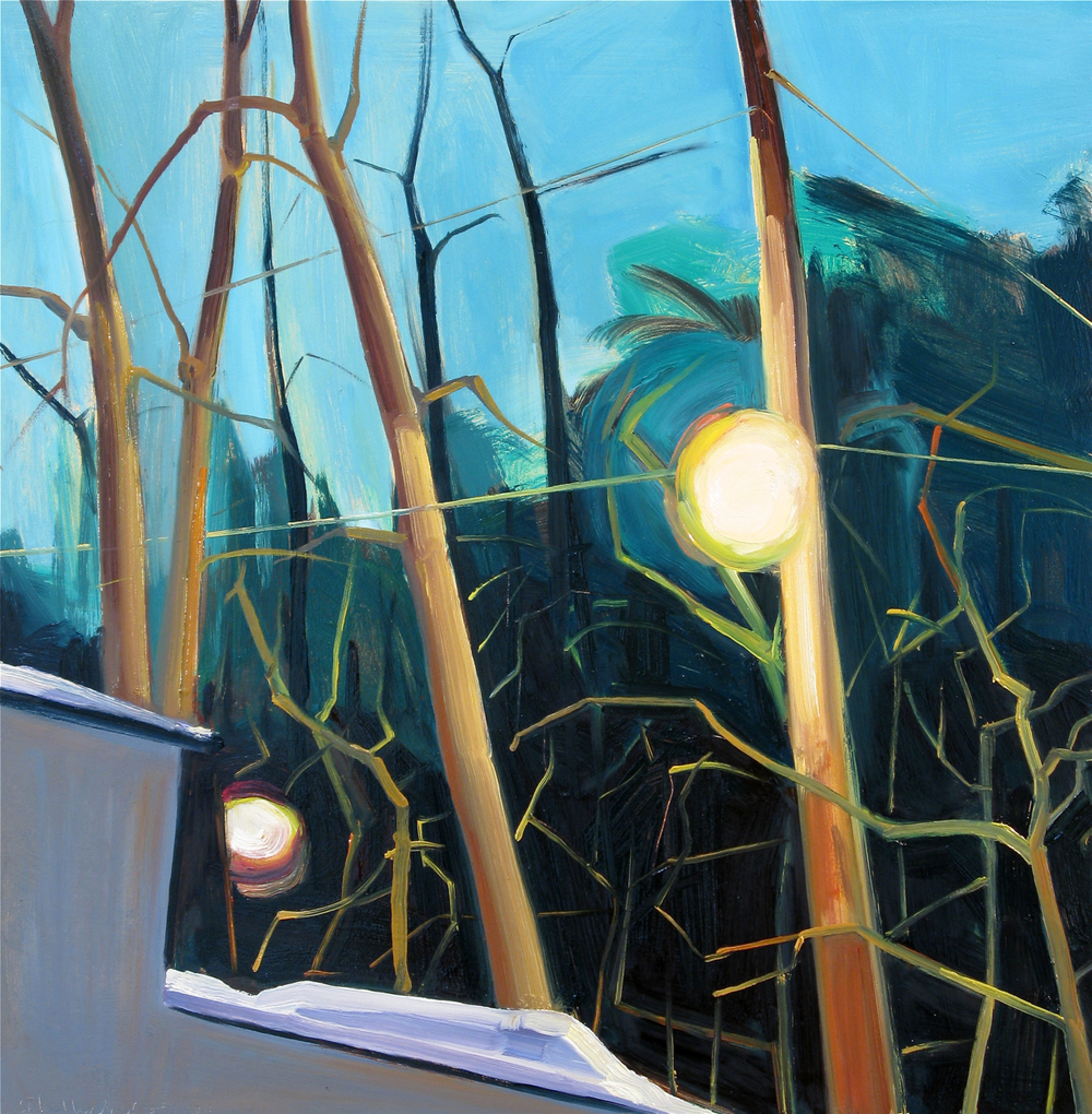 """Lou Schellenberg , """"February Thaw"""" oil on panel, 16""""x16"""" (retail value $1400)"""