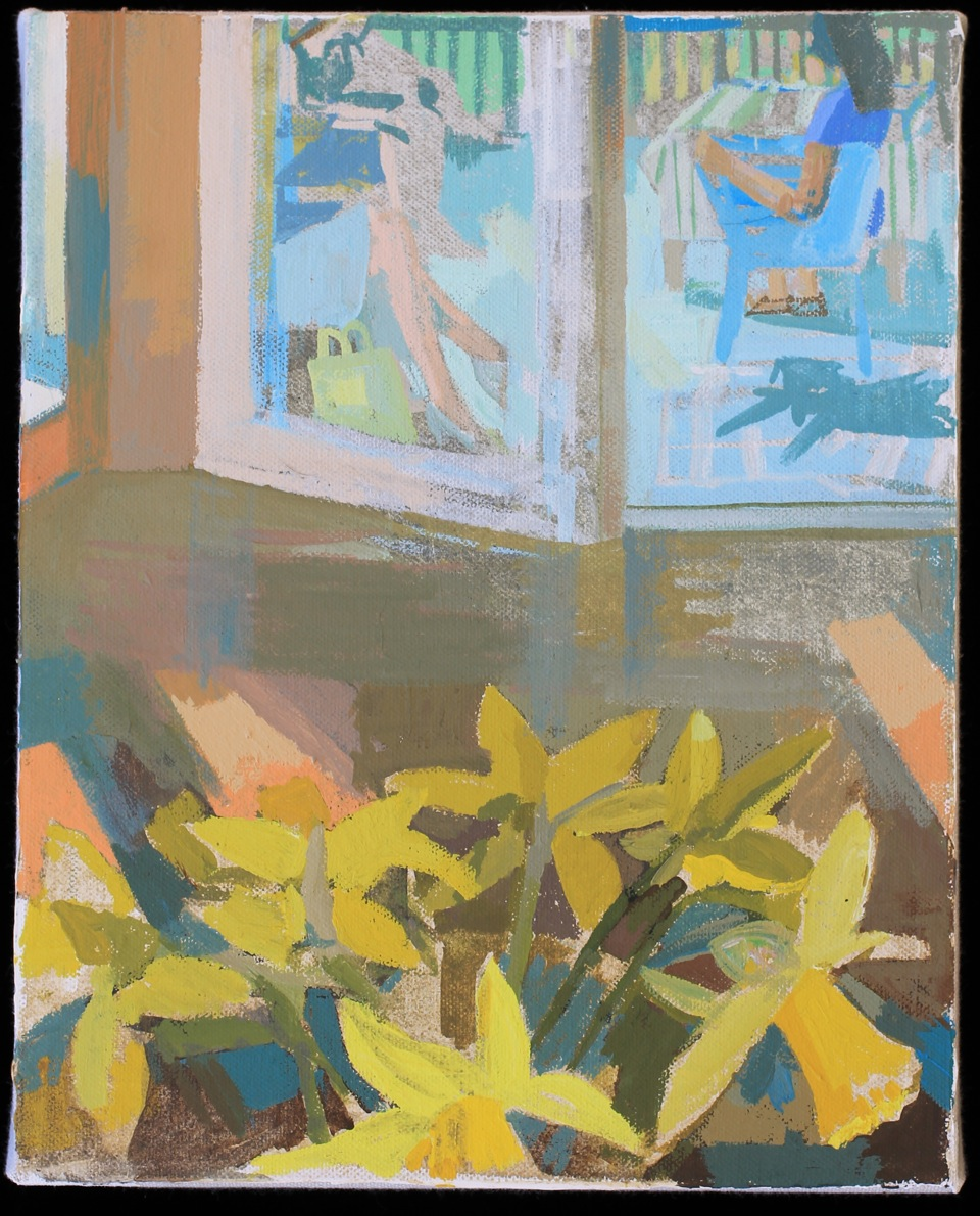 """Susan Lichtman , """"Study for First Nice Day""""Acrylic gouache on canvas mounted on board,It's 8""""x10"""" (retail value $1000)"""
