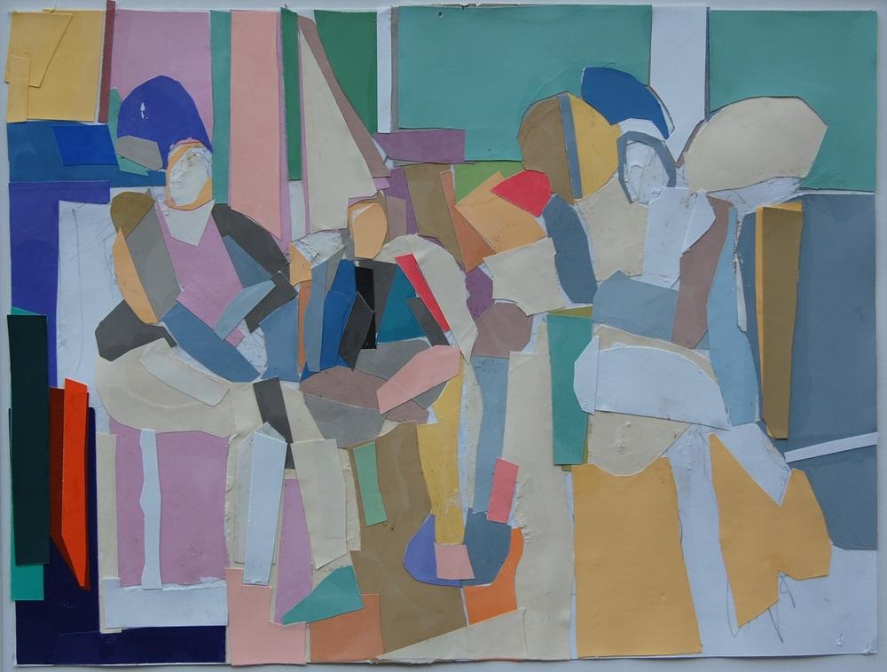 "Glen Cebulash , ""Three Figures"" cut paper, 9""x12"" (retail value $850)"