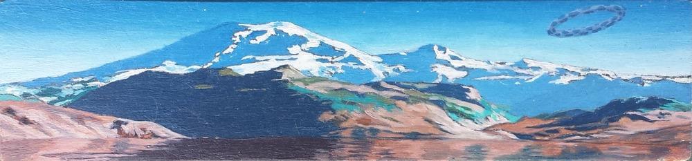"""Steve Cope , """"Mount Rainier"""" oil on wood panel, 1.25""""x5.25"""" (retail value $1400)"""