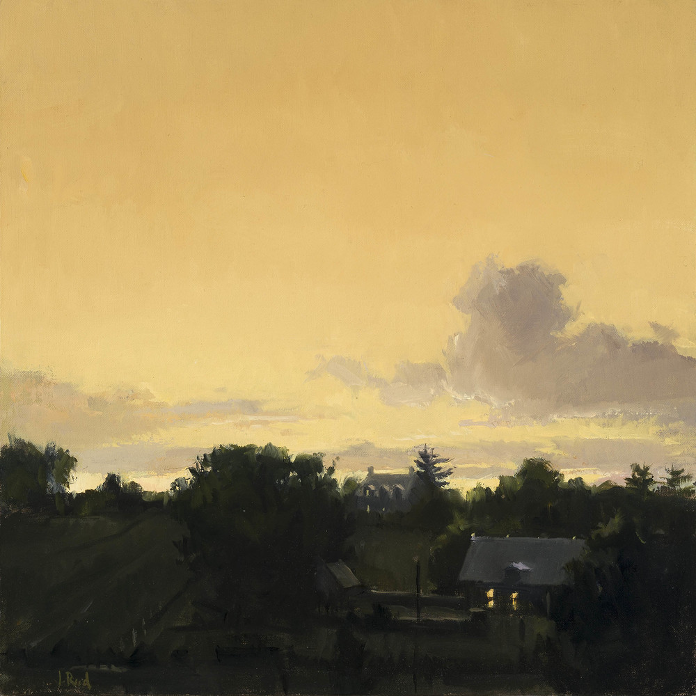 """Jeffrey Reed , """"Dusk"""" oil on canvas, 14.5""""x14.5"""" (retail value is $2,600)"""