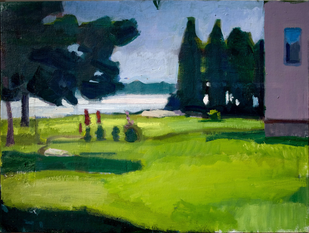 "John Goodrich ""Lawn, Jonesport"" 2014, oil/panel, 12 x 16 in"
