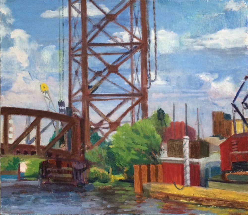 "Megan Williamson, ""Ping Tom Memorial Park, Chicago"" oil on canvas"