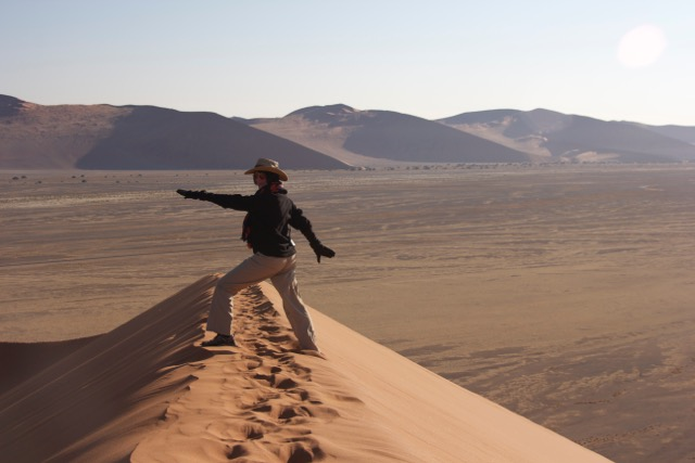 Janyce rocking the dunes in Namibia.