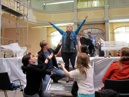 Rehearsal for Die Zauberflote in Freiberg, Germany