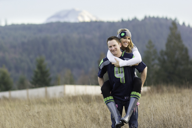 Engagement session Seattle Seahawks Mt Rainier