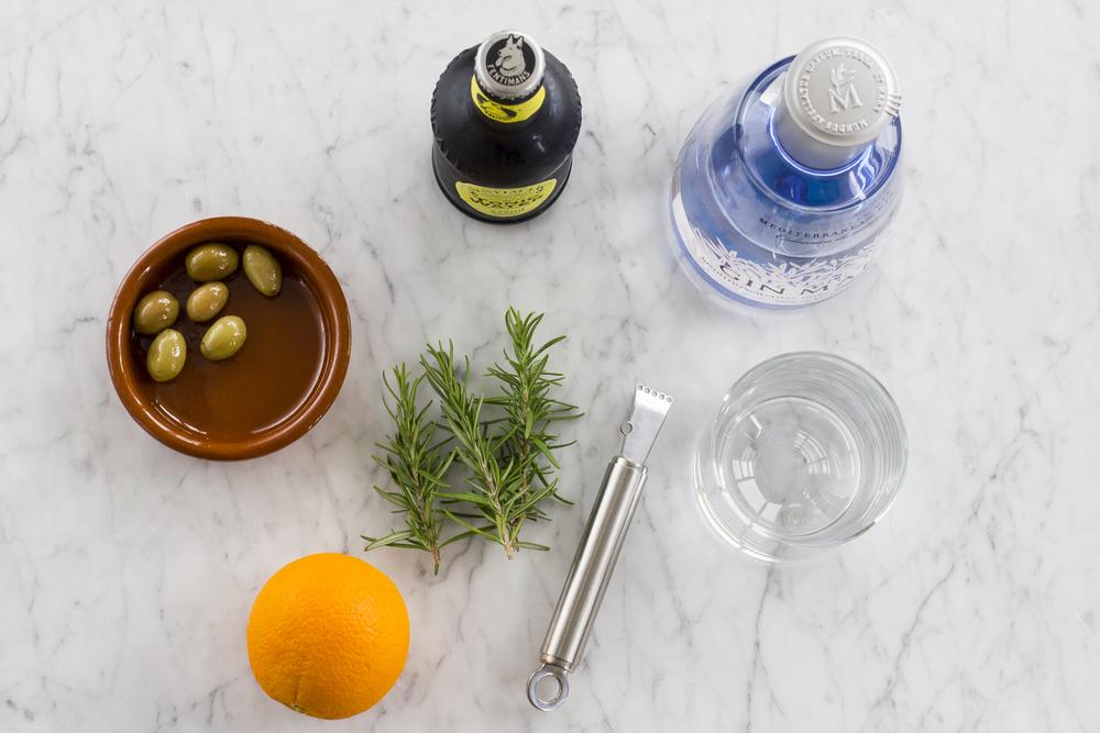 Rosemary and Orange Zest Gin Tonic Preparation © 2014 Helena McMurdo