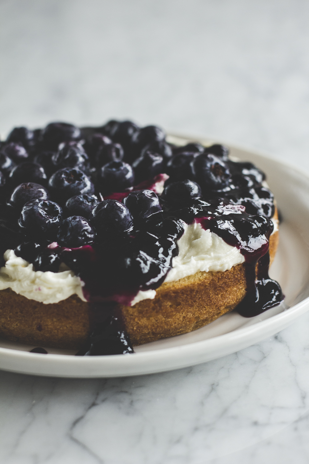Blueberry jam and  whole blueberry filling for Victoria Sponge Birthday Cake © 2014 Helena McMurdo