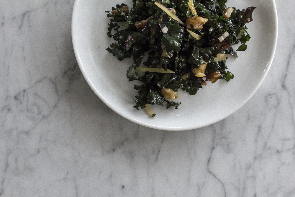 Kale Salad with Dates, Candied Walnuts & Preserved Lemons. Helena McMurdo Photography on Endless Picnic.
