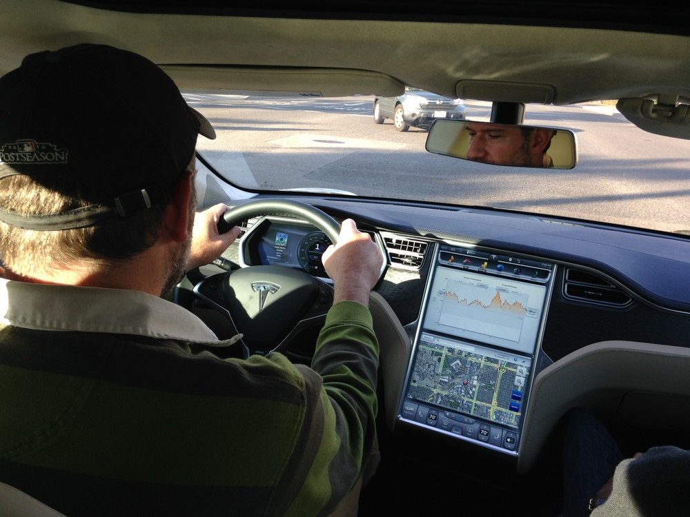 Test driving a Tesla Model S