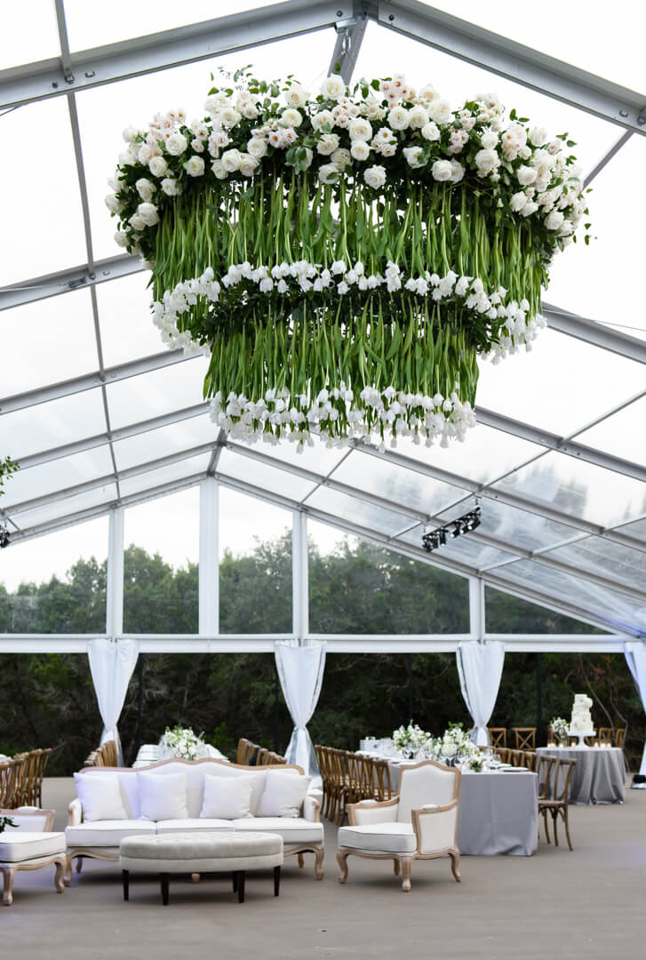 Tulip Chandelier - Brock + Co EventsJenny DeMarco PhotographyGreenhouse at DriftwoodLa Tavola LinenWhim HospitalityPremiere EventsRoyal Fig Catering
