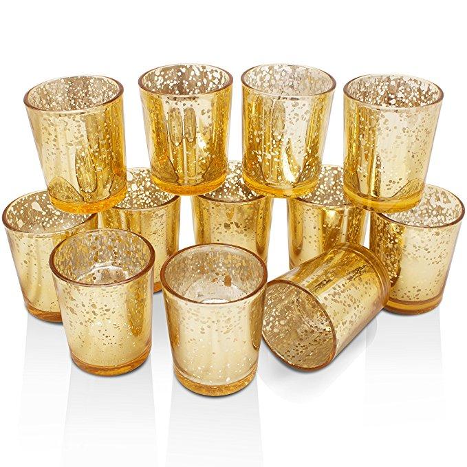 soft gold mercury glass votives