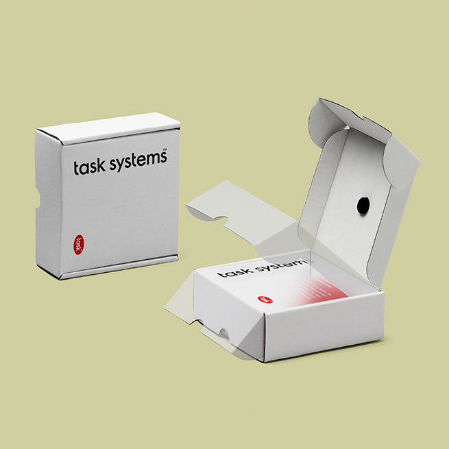 Packaging deisgn for wood samples. Cardboard material. Branded. Task Systems.