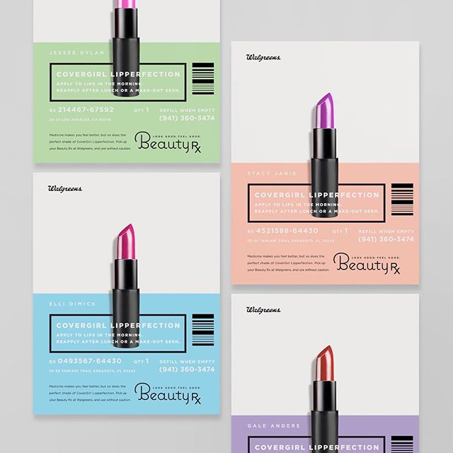 "Print series created for Walgreens that I worked on a while back promoting their Beauty Rx line. The designs were created to resemble a prescription pill container that held a beauty product instead of medicine. ""Look good feel good"" was the tag line that molded this concept together. Was also a nice challenge making sure the design catered towards women."