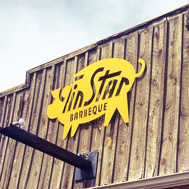 Another shot of the Tin Star BBQ sign that found a new home outside.