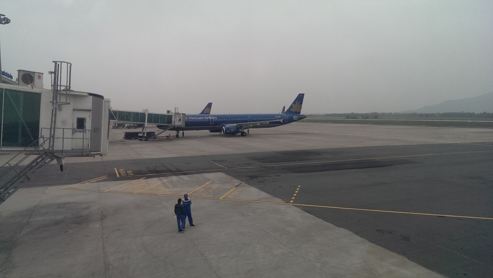 Vietnam Airlines plane before departure in Ha Nang